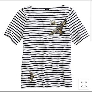 J. Crew Sequin Bird Striped Navy & White Tee Shirt